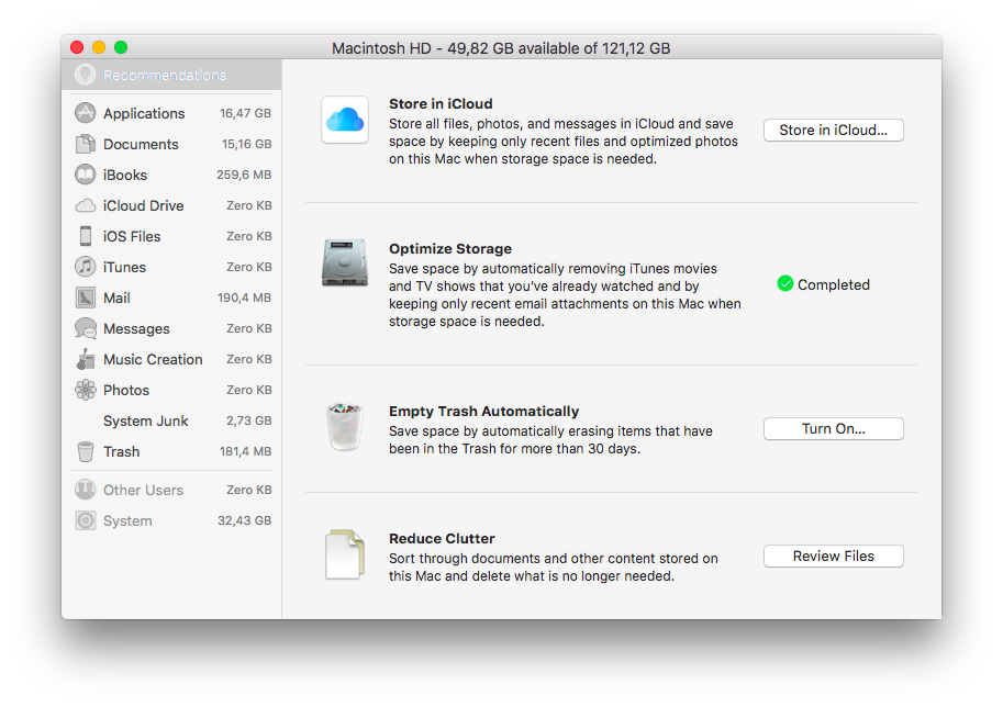 Screenshot of macOS detailed storage panel