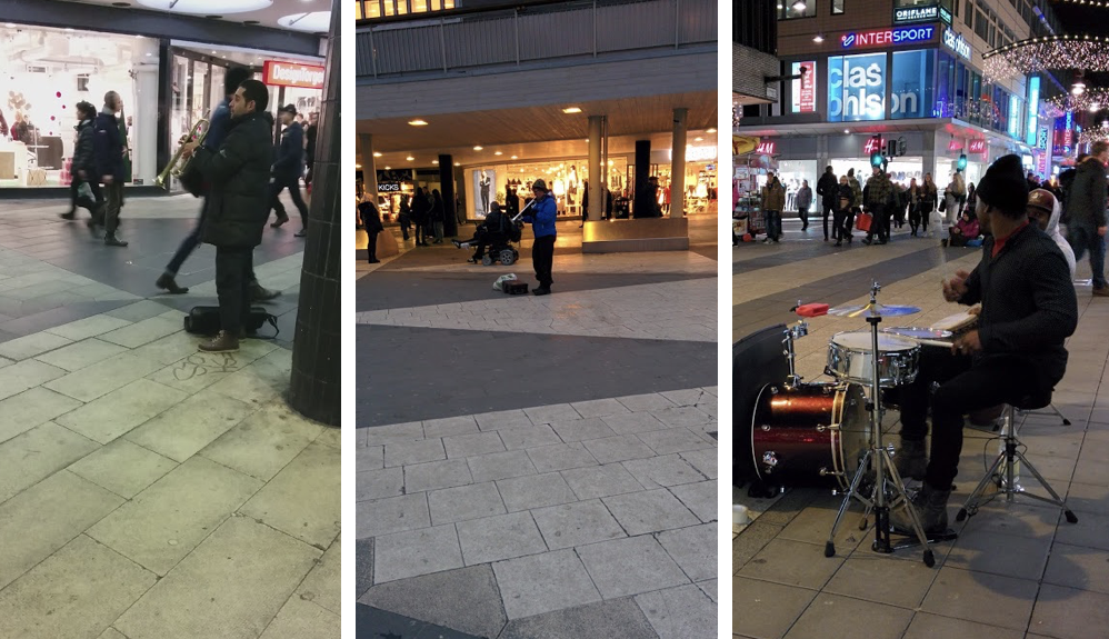 Street musicians performing in Stockholm