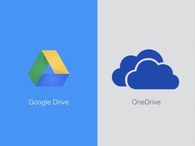 Logos of Google Drive and OneDrive