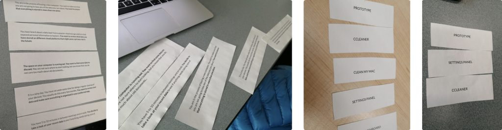 Examples of participants card sorting results